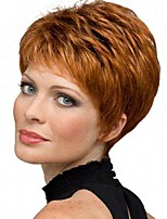 cheap -Synthetic Wig Straight Pixie Cut Synthetic Hair 6 inch Synthetic Red / Gray Wig Women's Short Capless Copper Brown