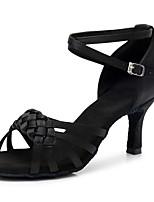 preiswerte -Damen Schuhe für den lateinamerikanischen Tanz Satin Sandalen / Absätze Schnalle Kubanischer Absatz Maßfertigung Tanzschuhe Schwarz