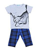 Недорогие -Дети (1-4 лет) Мальчики С принтом / В клетку С короткими рукавами Набор одежды