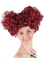 billiga -Syntetiska peruker / Kostymperuker Lockigt Burgundy Bob-frisyr Syntetiskt hår 22 tum Anime / Cosplay / Dam Burgundy Peruk Dam Mellanlängd Maskingjord Vinröd