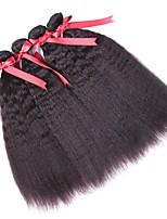 Недорогие -4 Связки Перуанские волосы Вытянутые Натуральные волосы Человека ткет Волосы / Пучок волос / One Pack Solution 8-28 дюймовый Естественный цвет Ткет человеческих волос