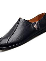 cheap -Men's Moccasin Cowhide Fall Loafers & Slip-Ons Black / Light Brown / Dark Brown