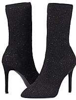 Недорогие -Жен. Комфортная обувь Эластичная ткань Весна & осень Ботинки На шпильке Сапоги до середины икры Черный / Вино