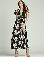 cheap -Women's Basic Petal Sleeves Sheath / Chiffon Dress - Floral Print