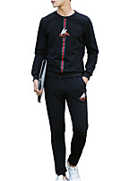 cheap -Men's Sports Long Sleeve Activewear Set - Geometric / Color Block Round Neck