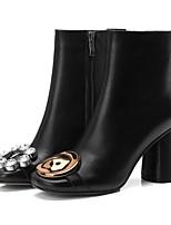 Недорогие -Жен. Fashion Boots Наппа Leather Осень Ботинки На толстом каблуке Сапоги до середины икры Черный