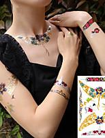 economico -3 pcs Tatuaggi temporanei Serie fiori / Serie di cartoni animati Ecologico / Nuovo design arti del corpo Viso / Corpo / braccio / Tatuaggi temporanei stile decalcomania
