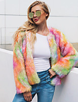 cheap -Long Sleeve Faux Fur Wedding / Party / Evening Women's Wrap With Color Block Coats / Jackets
