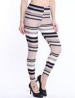 preiswerte -Damen Alltag Grundlegend Legging - Gestreift Mittlere Taillenlinie