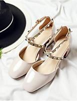 Недорогие -Жен. Комфортная обувь Полиуретан Весна / Лето Обувь на каблуках На толстом каблуке Миндальный