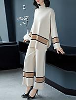 baratos -Mulheres Activo / Básico Suéter Sólido / Estampa Colorida Calça