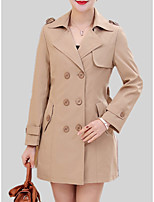 cheap -Women's Trench Coat - Solid Colored, Patchwork