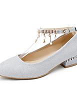 baratos -Mulheres Sapatos Confortáveis Cetim Primavera Saltos Salto Baixo Dourado / Preto / Prata