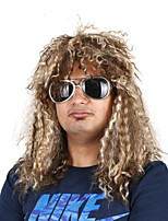billiga -Syntetiska peruker / Kostymperuker Lockigt Guld Bob-frisyr Syntetiskt hår 22 tum Cosplay / Bekväm / För europeisk Guld / Brun Peruk Herr Mellanlängd Maskingjord Ljusguldig