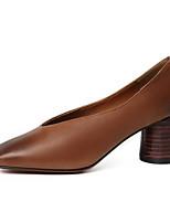 baratos -Mulheres Sapatos Pele de Carneiro Primavera Plataforma Básica Saltos Salto Robusto Preto / Marron