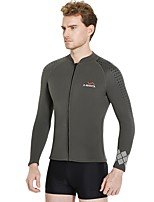 cheap -Men's Wetsuit Jacket 3mm Jacket / Diving Suit / Top Thermal / Warm Long Sleeve Front Zip - Surfing / Snorkeling / Watersports Solid Colored Autumn / Fall / Stretchy