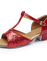 cheap -Women's Latin Shoes Patent Leather Sandal / Heel Splicing Thick Heel Customizable Dance Shoes Red