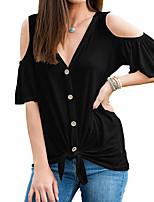 baratos -Mulheres Camiseta Básico / Moda de Rua Cordões, Sólido