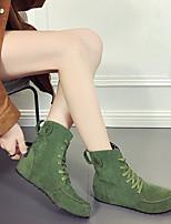 Недорогие -Жен. Fashion Boots Замша Наступила зима Ботинки На плоской подошве Круглый носок Ботинки Заклепки Военно-зеленный / Красный / Хаки