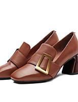 Недорогие -Жен. Обувь Наппа Leather Лето Удобная обувь Обувь на каблуках На толстом каблуке Черный / Коричневый