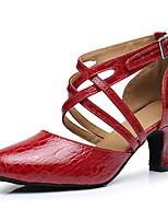 Недорогие -Жен. Обувь для модерна Кожа На каблуках Тонкий высокий каблук Танцевальная обувь Золотой / Черный / Красный
