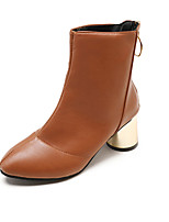 Недорогие -Жен. Обувь Полиуретан Лето Верховые ботинки Ботинки На толстом каблуке Заостренный носок Сапоги до середины икры Черный / Бежевый / Коричневый