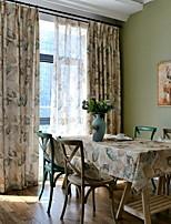 billiga -gardiner draperier Dining Room Blommig Linne / Bomull blend Tryckt