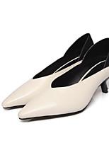 Недорогие -Жен. Обувь Наппа Leather Осень Туфли лодочки Обувь на каблуках На шпильке Черный / Бежевый