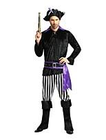 Недорогие -Пираты Карибского моря Костюм для вечеринки Костюм Муж. Хэллоуин Карнавал Октоберфест Фестиваль / праздник Костюмы на Хэллоуин Инвентарь Черный Однотонный Полоски Halloween Вечеринка Хэллоуин