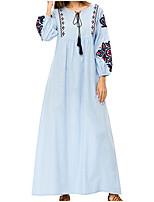 cheap -women's cotton loose swing dress maxi