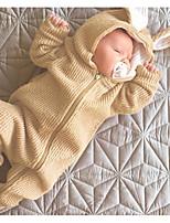 Недорогие -малыш Девочки Классический Однотонный Длинный рукав Хлопок 1 предмет