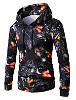 cheap -men's long sleeve slim hoodie - floral hooded