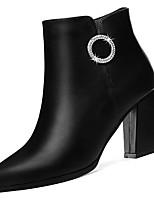 Недорогие -Жен. Полиуретан Осень Модная обувь Ботинки На толстом каблуке Заостренный носок Ботинки Черный / Винный