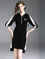 cheap -Women's Street chic Shift Dress - Color Block