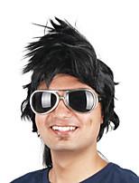 Недорогие -Парики из искусственных волос / Маскарадные парики Прямой Стрижка боб Искусственные волосы 14 дюймовый Косплей / Для европейских Черный Парик Муж. Короткие Машинное плетение