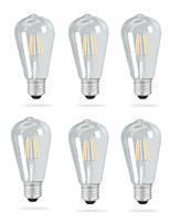 economico -Ecolight™ 6pcs 4 W 320 lm E26 / E27 Lampadine LED a incandescenza ST64 4 Perline LED COB Nuovo design Bianco caldo 220-240 V / 110-120 V