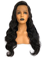 cheap -Unprocessed Human Hair Lace Front Wig Brazilian Hair Wavy Wig Side Part 150% Natural / New / Thick Black Women's Long Human Hair Lace Wig