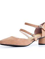 Недорогие -Жен. Комфортная обувь Замша Лето Обувь на каблуках На толстом каблуке Черный / Красный