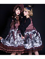 economico -Gotico Gotico Chiffon Per femmina Gonna pullover Cosplay Grigio / Marrone Senza maniche Costumi Halloween