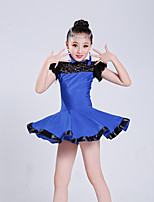 cheap -Latin Dance Dresses Girls' Performance Polyester Lace / Split Joint Short Sleeve High Dress