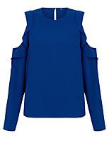 Недорогие -Жен. Оборки Большие размеры - Футболка / Блуза Классический / Уличный стиль Однотонный