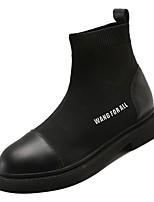 Недорогие -Жен. Полиуретан Осень Модная обувь Ботинки На плоской подошве Круглый носок Черный