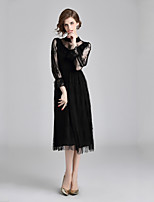cheap -Women's Elegant Flare Sleeve Sheath Dress Lace