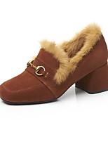 abordables -Femme Chaussures Daim Automne hiver Confort Chaussures à Talons Talon Bottier Noir / Marron
