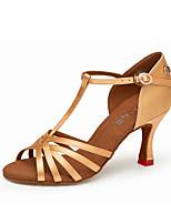 Недорогие -Жен. Обувь для латины Сатин На каблуках Кубинский каблук Танцевальная обувь Черный / Желтый / Коричневый