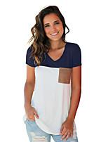 baratos -Mulheres Camiseta Estampa Colorida Decote V / Verão / Outono