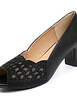 Недорогие -Жен. Полиуретан Весна лето Туфли лодочки Обувь на каблуках На толстом каблуке Белый / Черный