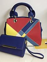 economico -Per donna Sacchetti PU Tote Set di borsa da 2 pezzi Cerniera / A blocchi di colore Blu / Cammello