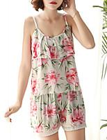 cheap -Women's Deep V Satin & Silk / Suits Pajamas Floral