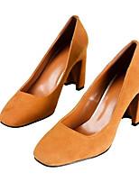 Недорогие -Жен. Обувь Замша Весна Туфли лодочки Обувь на каблуках На толстом каблуке Черный / Цвет радуги / Верблюжий